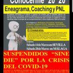 SUSPENSIÓN DE LOS CURSOS DE LOS DIAS 14 Y 28 DE MARZO POR LA CRISIS DEL COVID-19